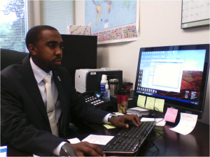 Terrell Holmes at work in his office in the Records department. (Photo: Timothy W. Patterson)