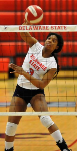 Nevershi Ellis caught in action during one of the Hornet's volleyball games. (Photo: dsuhornets.com)