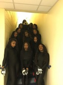 Delta Sigma Sorority Inc. posing before their performance for the 2016 Homecoming step show (Photo: Koya Perez)