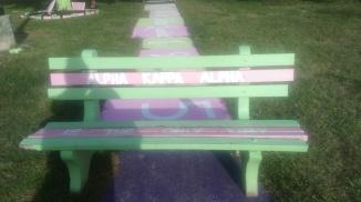Alpha Kappa Alpha Sorority Inc. bench on plot. (Photo: Jasmine Saunders)
