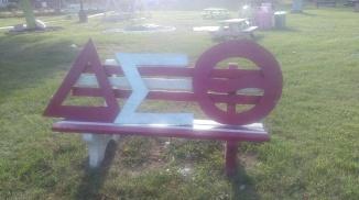 Delta Sigma Theta Sorority Inc. bench on plot. (Photo: Jasmine Saunders)