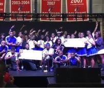 Winners Zeta Phi Beta Sorority Inc. and Phi Beta Sigma Fraternity Inc. receiving their grand prize: a trophy and check (Photo: Koya Perez)
