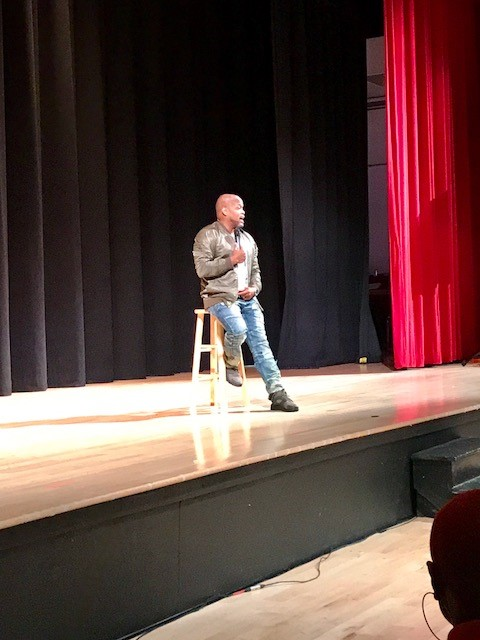 Comedian Steve Brown get the audience ready for a great show